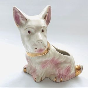 Vintage Scottie Porcelain Dog Figurine Planter